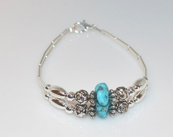 Turquoise Bracelet, Turquoise Bracelet with Turquoise Nugget, Turquoise Bracelet with Turquoise Nugget and Liquid Silver