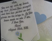 40 words of your choice. Mother's  Lace Personalized Wedding Handkerchief. Free Gift Box With Each One That You Order.