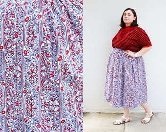 Plus Size - Modern Vintage Blue & Red Abstract Print Swing Skirt (Size 1X-3X)