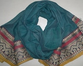 Small Scarf Vintage Scarf Indian Sari Scarf Green Scarf Upcycled VSF1