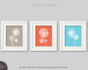 Dandelion Wall Art Prints, Coral, Khaki, Sky Blue Aqua Flower Art, Bedroom Bathroom Nursery Set of (3) 5x7, 8x10 or 11x14, Decor UNFRAMED