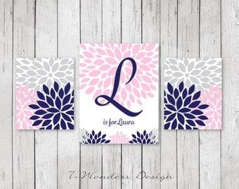 Girls Nursery Bedroom Pink Navy Gray Flower Bursts Personalized Art Prints Set of (3) 2 Size Options // Girls Modern Wall Art - Unframed