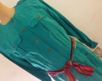 80's Dress Boho Style 100% Silk Made by Liz Claiborne Jade Green with Colorful Stripe Sash Belt Size Large Deadstock