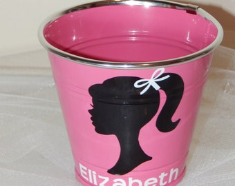 Personalized! Metal Classic Girl Silhouette Bucket