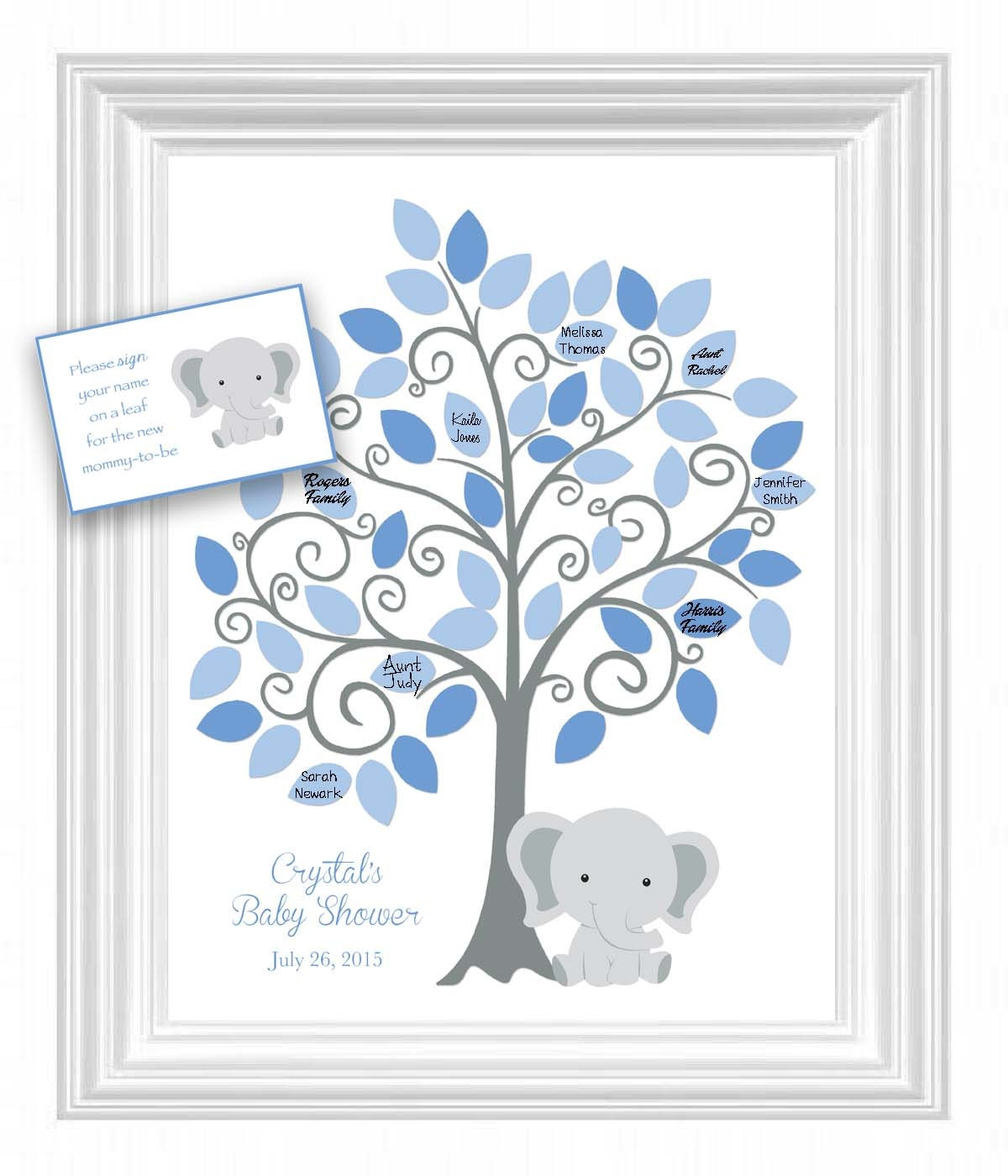 baby shower guest 11x14 sign in tree poster elephant baby