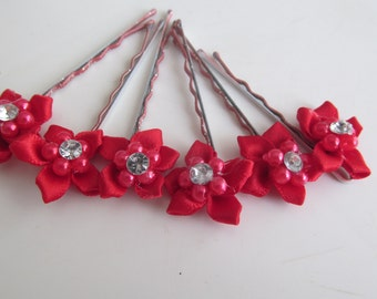 Red Flower Bobby Pins
