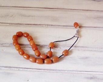 Onyx worry beads set, orange coloured onyx beads, Greek worry beads, sterling silver and gemstone mala prayer beads, Greek komboloi of onyx