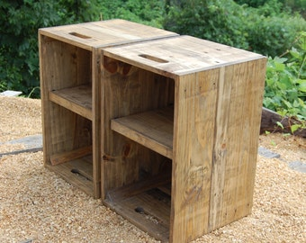 Wooden Crates/ Nightstand/ Pair of Side Tables/ Reclaim Wood/ Small Tables