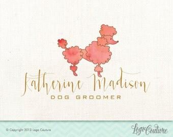 Pre-made Logo Design - Katherine Madison Dog Groomer - Watercolor Pink Poodle Logo - Dog Logo - Dog Grooming Logo - Dog Grooming