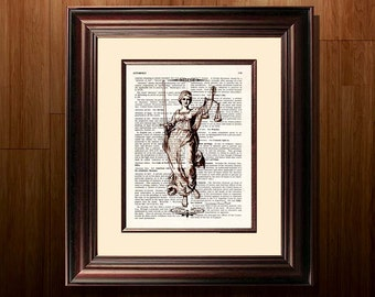 "Fine Art Print - ""Vintage Lady Justice"" - 8.5""x11"", Lawyer print, Lawyer Gift, Scales of Justice print, Pass the Bar gift"