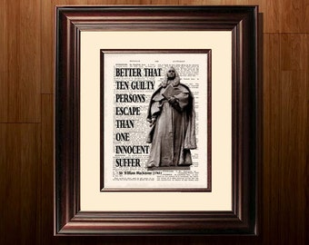 "Fine Art Print - ""Sir William Blackstone quote"" - 8.5""x11"", Lawyer print, Lawyer Gift, Scales of Justice print, Pass the Bar gift, Barrister"