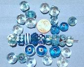 SALE- 29 Blue Assorted Lampwork Vintage Beads