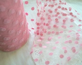 Pink Flocked POLKA Dot TULLE Mesh Ribbon