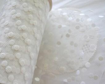 White Flocked POLKA Dot TULLE Mesh Ribbon