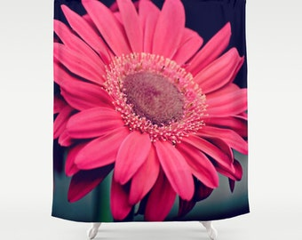 Fabric Shower Curtain - Pink Nature Photography, bathroom, home RDelean, daisy, flower, macro