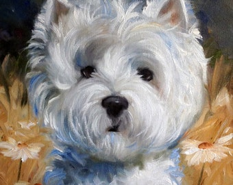 "CANVAS or Paper PRINT Westie West Highland Terrier Dog portrait painting ""when the wind blows""  / Mary Sparrow unstretched and rolled"