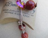 Crystal Pendant Lariat, Red Beaded Necklace, Gemstone Heart Necklace, Edinburgh Jewellery Designer, K Brown Jewellery, Beadwork Designer