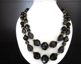 Jet Black Lucite Double Strand Necklace & Matching Clip Earrings Mid Century