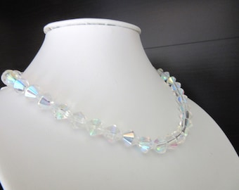 Czech Crystal Necklace or Choker Aurora Borealis Bicone Beads Size Small 14 - 17 Inches