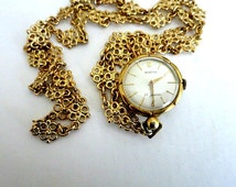 Winton Swiss Made Watch Pendant Necklace 21J Two Sided Gold Filled Rare
