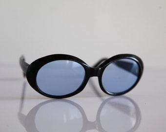 Vintage 70s Black Frame, Blue Lenses. Rare Piece.