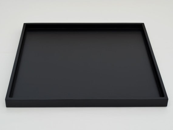 Ready to ship 24 x 24 raven black large shallow ottoman tray for Shallow coffee table