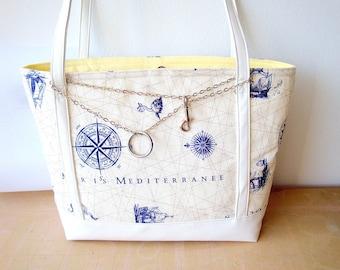 Handbag, Tote bag, Shoulderbag, Shopper, ivory, white, blue, Ocean,  chain