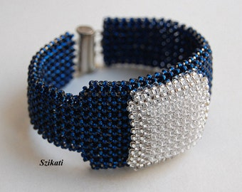 10% SALE! Dark Blue/Crystal Statement Seed Bead Cuff Bracelet, Beadwoven High Fashion Jewelry, Women's Beaded Accessory, Gift for Her, OOAK