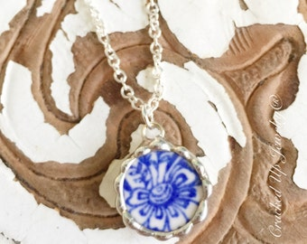 Broken China Jewelry, Broken China Necklace, Antique Royal China, Blue and White China Necklace