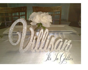 Last Name Table sign / Glitter wedding decor