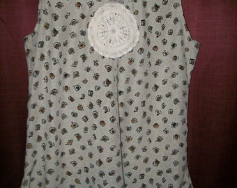 Upcycled Shabby Chic tank top M-L