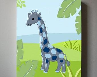 Giraffe Nursery Decor Canvas Wall art - Baby Boy Nursery Wall art - Monkey Jungle Wall Decor for Boy's room