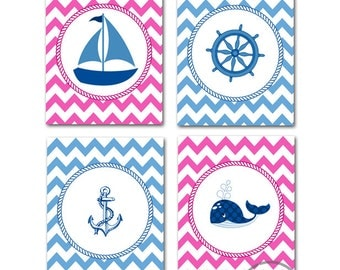 Nautical Nursery Art - Sailboat Nursery Decor -  Nautical Baby Girl Nursery Room Decor Setof Four Prints, Anchor, Whale, Ship Wheel,