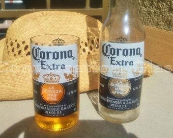 Corona Beer Bottle Glasses Set of 2
