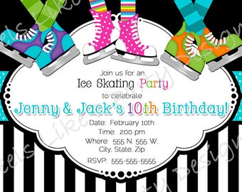 Custom Boy and Girl Ice Skating Party Invite