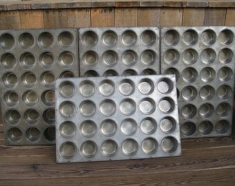 Vintage MuffinTin-Cupcake Tins-24 Cup Pans-Industrial Commercial Muffin Pan-Restaurant Pans-Farmhouse Bakeware-Heavy Duty Baking Pans