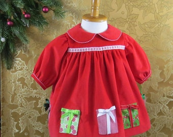 Baby's First Christmas, Infant Girl, Holiday Dress, Fully Lined, Size 3 Months, Soft Red Corduroy, Handmade, Warm, Original Design