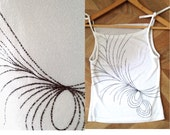 peacock feather top- silver white top- woman fashion