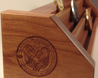 Natural Cherry Department of Veterans Affairs Challenge Coin Display for 15-21 Coins