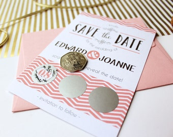 Scratch Off Save the Date Cards, A6 Postcard, Fun Unique Wedding Announcement