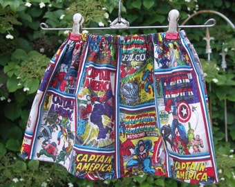 Captain America Comic Book Skirt- Girls 18 months-2T