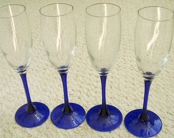 Cobalt Blue Stemware Vintage Champagne Flutes, 8 matching flutes available, Sold in sets of 4