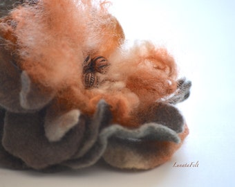 October - abstract flower brooch - big fantasy flower pin - wool felted flower brooch - OOAK - ready to ship