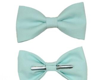 Aqua Blue Clip On Bow Tie - Men / Boys / 12-18 Months / 2T 3T Bowtie Ring Bearer / Groom / Best Man