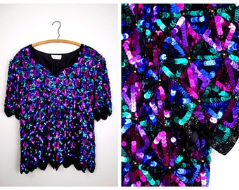 VTG Sequin Trophy Plus Size Top // Bright Pink Purple Blue Green Sequined Blouse by Laurence Kazar