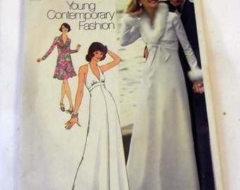 """1970s boho Halter Dress Evening Gown and Bolero Jacket sewing pattern Simplicity 6658 Size 16 Bust 38"""" UNCUT FF"""