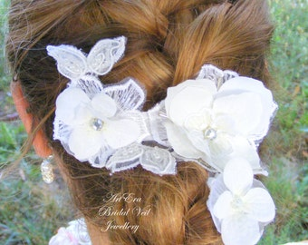 Post-Free! White  lace strass hair piece, Bridal white lace hair ornament, wedding hair accessory
