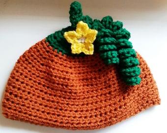 Crochet Pumpkin Flower Hat