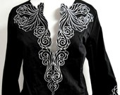 Bob Mackie Wearable Art Jacket Black & White Embroidered Trim Kimono Bell 3/4 Sleeve Floral Rose Butterfly Cardigan Dressy Holiday Party Vtg