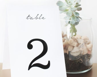 Simple Folded Table Number Cards for Wedding or Event, Set of 16 Cards